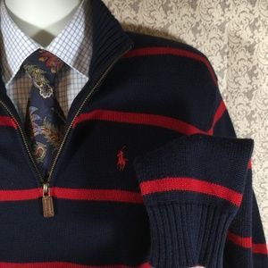 Polo Ralph Lauren Navy Red Marled Striped Sweater